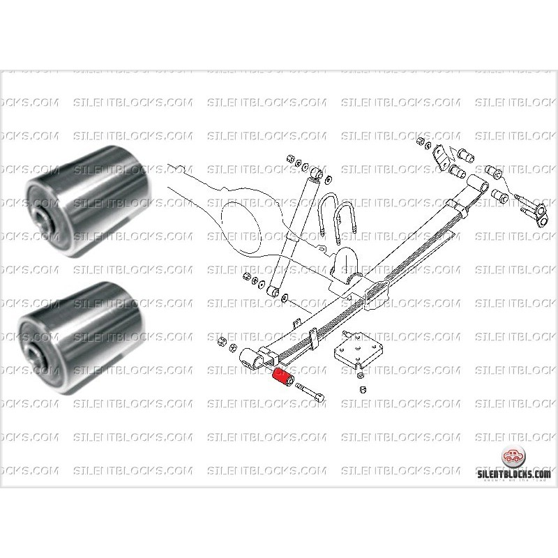 rear leaf spring silentblocks  frt pos