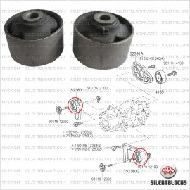 2 Silentblocs support transmission RAV4, Auris